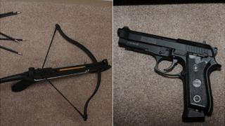 Crossbow and gun