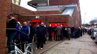 Fans queuing at Aberdeen FC