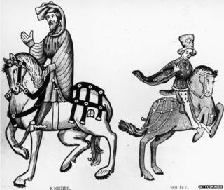 Chaucer's knight and squire from the Ellesmere manuscript