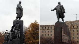 Taras Shevchenko and Vladimir Lenin - statues in Kharkiv