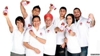 Mr Singh's family raise a toast