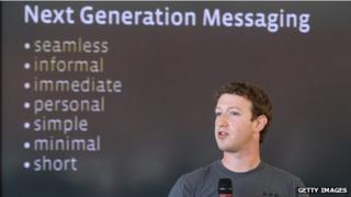 Mark Zuckerberg in front of next generation messaging slide