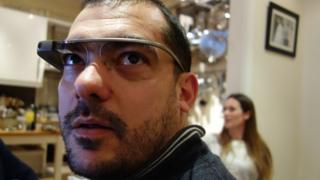 Man wearing a Google glass headset
