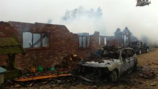Bungalow destroyed by fire in Pound Lane, Capel St Mary