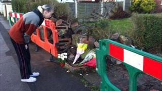 Tributes at Valley Road crash site