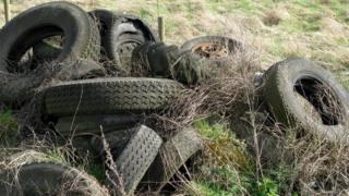 Tyres in a field in Rainham, Essex