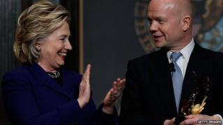 Hillary Clinton and William Hague in Washington