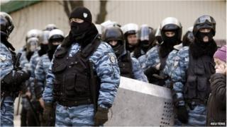 The Ukrainian Berkut police unit in the eastern city of Donetsk