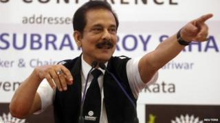 Sahara Group Chairman Subrata Roy gestures as he speaks during a news conference in Calcutta on November 29, 2013