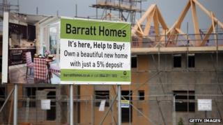 Barratt Development housing and Help to Buy sign