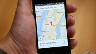 The Google Maps app is seen on an Apple iPhone 4S in Fairfax, California 13 December 2012