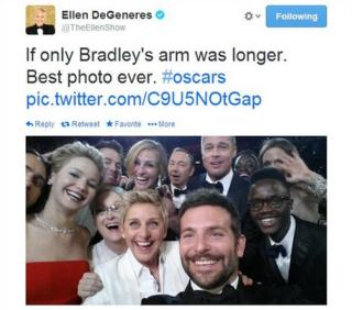 A screengrab of a tweet by Ellen DeGeneres