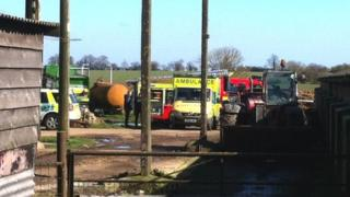 Emergency services at the site of the slurry pit