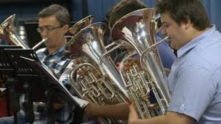 Tredegar Town Band in rehearsal