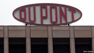 A DuPont sign is shown at the company's world headquarters in Wilmington, Delaware, 12 April 2004