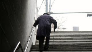 Man climbs stairs