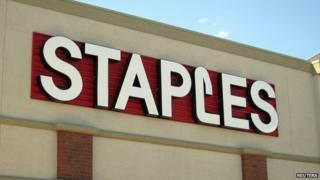 The sign outside of the Staples store is pictured in Broomfield, Colorado in this 17/08/11 file photo