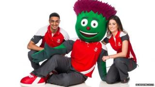 Arjan Singh, Taylor Sexton and games mascot Clyde model the 'Game Time' uniform