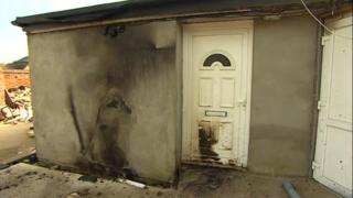 Fire damage at a mosque in Bletchley