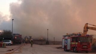 Fire crews at the plant in Tipton