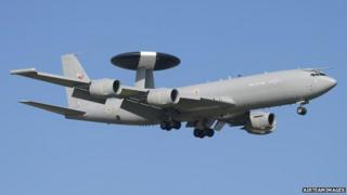 An RAF Boeing E-3 Sentry (Awacs) surveillance aircraft at Anglesey Airport, 18/03/2004