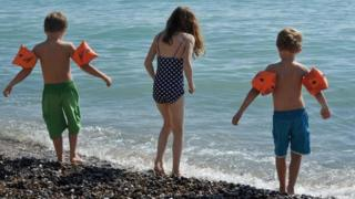 Children on beach in East Sussex