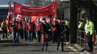 Workers stage a walkout