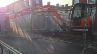 Road repairs on Spring Road in Ipswich