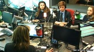 Tarporley High School students in Victoria Derbyshire's studio