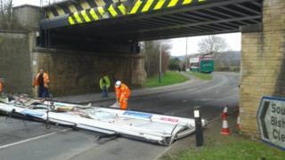 The double-decker bus crashed into a bridge in Cheltenham