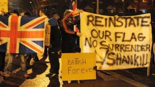 Union flag protest in Belfast in December 2012