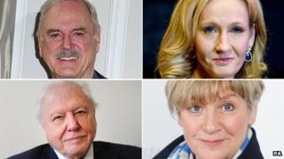 (Clockwise from top left) John Cleese, JK Rowling, Victoria Wood, Sir David Attenborough