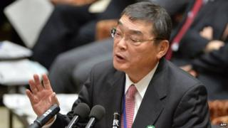 NHK President Katsuto Momii answers questions in parliament on 31 January 2014