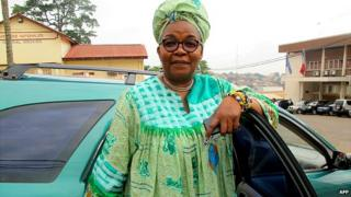 Alice Nkom poses outside a courthouse in Yaounde, the capital the Cameroon