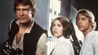 Harrison Ford, Carrie Fisher, and Mark Hamill as Han Solo, Princess Leia and Luke Skywalker in Star Wars