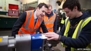George Osborne on a visit to a factory in Edinburgh