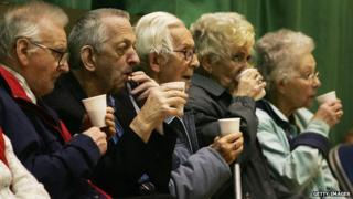 Pensioners in a row