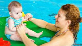 Mother and child swimming