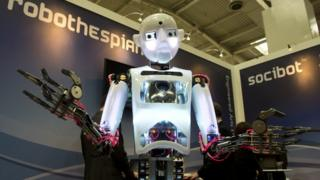 A robot at a trade show in Hanover, Germany.