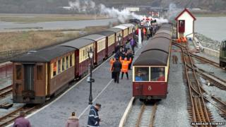 The first train arrives at the newly reopened Porthmadog Harbour station
