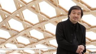 Japanese architect Shigeru Ban posing during a visit of the Centre Pompidou-Metz museum