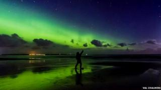 Val Chalmers looking at the Northern Lights