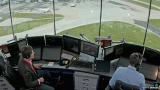 The view from the air traffic control tower in Manchester, UK.