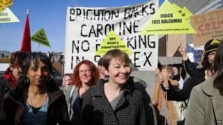Caroline Lucas with supporters outside Brighton Magistrates' Court