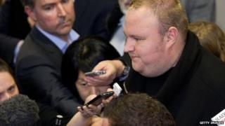 Kim Dotcom interviewed by reporters