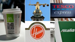 (Clockwise from left): McDonalds cup; scales of justice; Tesco Express sign; Alitalia sign; Hoover logo