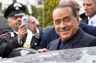 Silvio Berlusconi at Fiumicino Airport near Rome, 25 March