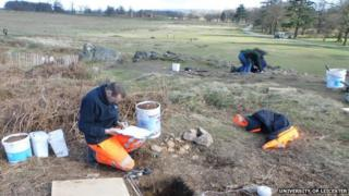 Excavation of test pits at the Creswellian site overlooking the Lin floodplain and Bradgate House