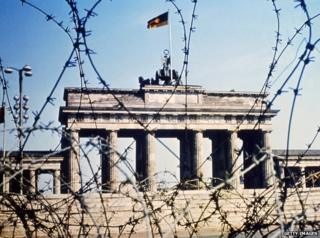 Brandenburg Gate through barbed wire