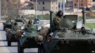 Russian armoured vehicles on the road between Simferopol and Sevastopol in Crimea - 17 March 2014